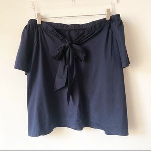 Banana Republic Tops - Banana Republic Navy Blue Off the Shoulder Bow Top
